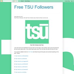 Free TSU Followers: Free TSU.co Followers. TSU Add Train of Active Users. Share for Share. Like for Like.