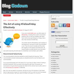 The Art of using #FollowFriday Effectively