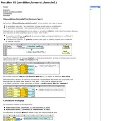 Fonction SI (condition;formule1;formule2)