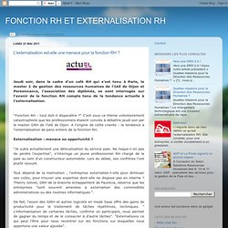L'externalisation est-elle une menace pour la fonction RH ?