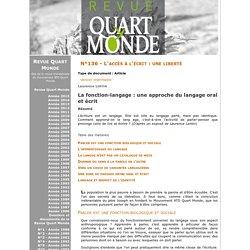 La fonction-langage : une approche du langage oral et écrit