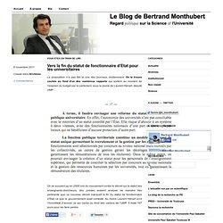 Vers la fin du statut de fonctionnaire d'Etat pour les universitaires « Bertrand Monthubert