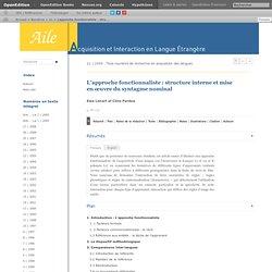 L'approche fonctionnaliste: structure interne et mise en œuvre du syntagme nominal