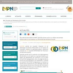 Nouvelle fonctionnalité de l'INPN, OpenObs donne accès à 71 millions de données d'observation sur les espèces sur l'ensemble des territoires français