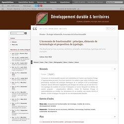 L'économie de fonctionnalité: principes, éléments de terminologie et proposition de typologie.