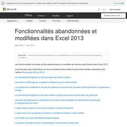 Fonctionnalités abandonnées et modifiées dans Excel2013