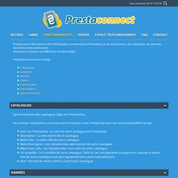 Fonctionnalités Connecteur SAGE Prestashop