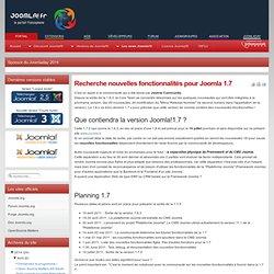 Recherche nouvelles fonctionnalités pour Joomla 1.7