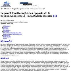25:2 - Le profil fonctionnel - les apports de la neuropsychologie à l'adaptation scolaire.