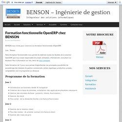 Formation fonctionnelle OpenERP chez BENSON