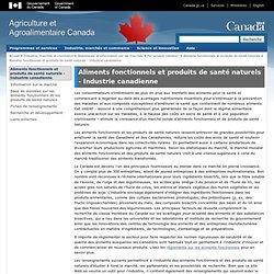 AGRICULTURE CANADA 23/12/13 Aliments fonctionnels et produits de santé naturels - Industrie canadienne