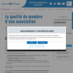 Fonctionnement d'une association – La qualité de membre