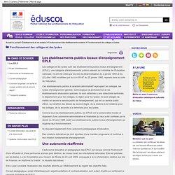 Fonctionnement des collèges et lycées - Les EPLE