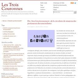Circulaire de mission_Du «bon fonctionnement» de la circulaire de missions des professeurs documentalistes_Duplessis