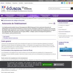 Fonctionnement des collèges et lycées - Autonomie de l'établissement