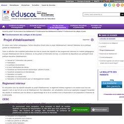 Fonctionnement des collèges et lycées - Projet d'établissement