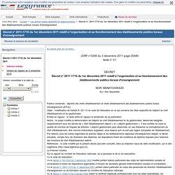 2011-1716 du 1er décembre 2011 relatif à l'organisation et au fonctionnement des établissements publics locaux d'enseignement