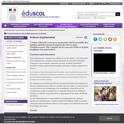 Fonctionnement des établissements scolaires - Acteurs et partenaires