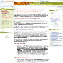 Connaître son fonctionnement cognitif pour apprendre- Centre Académique Recherche- Développement, Innovation et Expérimentation