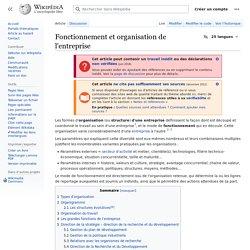 Fonctionnement et organisation de l'entreprise