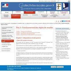 Titre 3 - Fonctionnement des régies de recettes