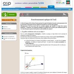Fonctionnement optique de l'œil - Réviser le cours - Sciences - Première ES