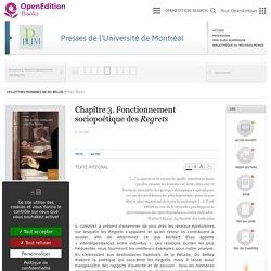 Les lettres romaines de Du Bellay - Chapitre 3. Fonctionnement sociopoétique des Regrets - Presses de l'Université de Montréal