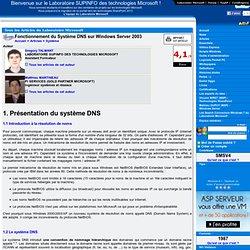 Fonctionnement du Système DNS sur Windows Server 2003