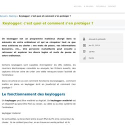 Les keyloggers: fonctionnement, utilisation et protection