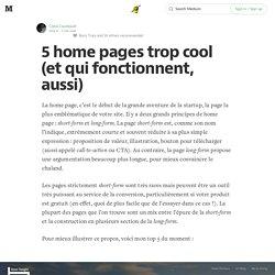 5 home pages trop cool (et qui fonctionnent, aussi) — Rejoignez le Koudetat