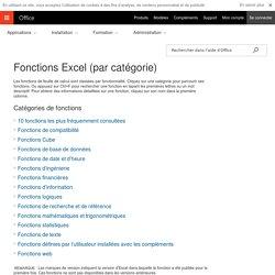 Fonctions Excel (par catégorie) - Support Office