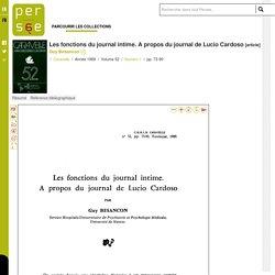 Les fonctions du journal intime. A propos du journal de Lucio Cardoso
