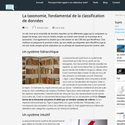 La taxonomie, fondamental de la classification de données - A la rédac