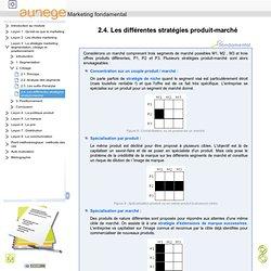 Marketing fondamental - 2.4. Les différentes stratégies produit-marché