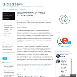 L'école fondamentale en colloque – Education & Devenir