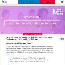 L'égalité entre les femmes et les hommes : une valeur fondamentale de la société québécoise