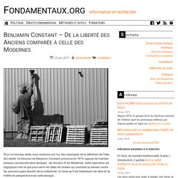 Benjamin Constant – De la liberté des Anciens comparée à celle des Modernes
