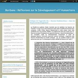 Critique de l'approche des « besoins fondamentaux » dans les Projets de Developpement - Bori Bana : Réflexions sur le Développement et l'Humanitaire