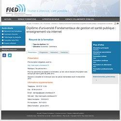 Diplôme d'université Fondamentaux de gestion et santé publique : enseignement via internet