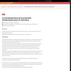Les fondamentaux de la propriété intellectuelle pour le chercheur - SYGEFOR