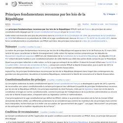 Principes fondamentaux reconnus par les lois de la République