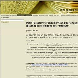 Deux Paradigmes Fondamentaux pour analyses (psycho)-sociologiques