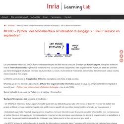 MOOC «Python : des fondamentaux à l'utilisation du langage» : une 3° session en septembre ! – Inria Learning Lab