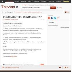 """Fondamenti O Fondamenta in """"La grammatica italiana"""""""