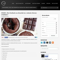Des fondants au chocolat en 1 minute chrono (VIDEO) !- RTL pour elle- RTL.be