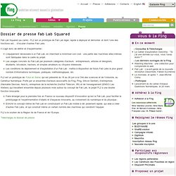 Dossier de presse Fab Lab Squared
