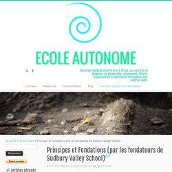 Principes et Fondations (par les fondateurs de Sudbury Valley School) – Ecole Autonome