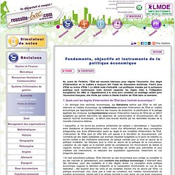 Fondements, objectifs et instruments de la politique économique - Fiches de révision - Économie - Terminale STG