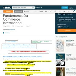 Fiche 1 - Les Fondements Du Commerce International