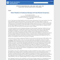 Robert Mundell et Les Fondements Théoriques de l'Union Monétaire Européenne